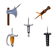 Get your medieval weapons push pins gift