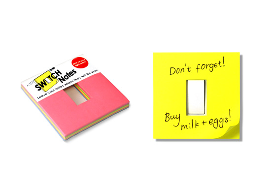 The switchplate sticky notes gift by Jihyang Lee