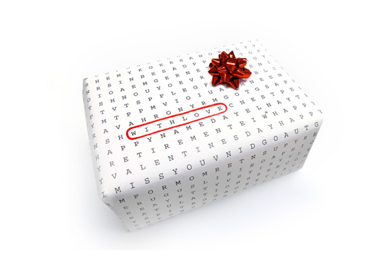 The word puzzle wordless wrapping paper gift