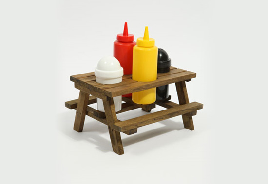 Mini Picnic Table Condiment Holder