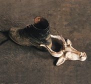 The cast iron bull with horns boot jack in antique buttermilk gift