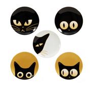 Cats eyes ceramic plates by Kaoru Shibata