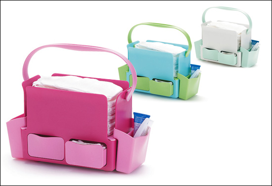 A tidy baby gift, it's the Diaper Toolbox