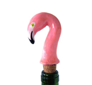 The flamingo wine bottle stopper gift by One Eyed Dog