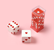 The oversized sweetheart dice