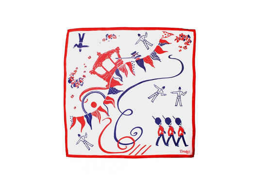 The limited edition Queen's Jubilee handkerchief gift by Drake's