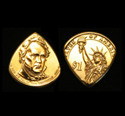 The USA Liberty gold dollar coin guitar pick gift