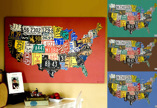 USA map license plate map gifts by Aaron Foster