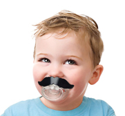 The Lil moustache baby pacifier gift by Fred and Friends