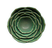 The five nesting lotus flower bowl gifts by Whitney Smith Pottery