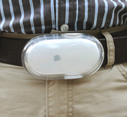 The upcycled Mac laser mouse belt buckle gift