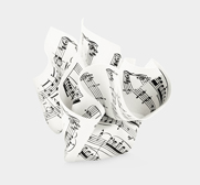 The sheet music paperweight gift by Tibor Kalman