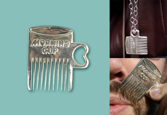 The mustache comb necklace gift by Makool