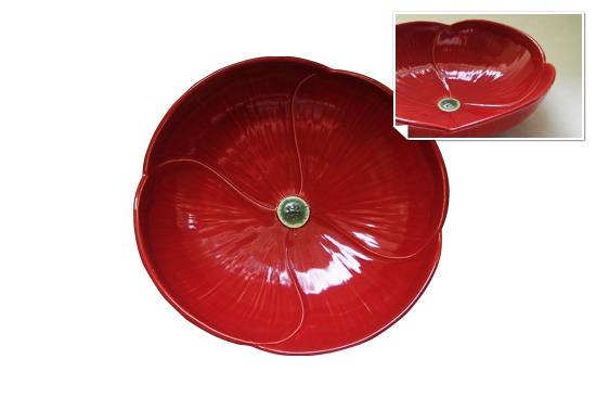 The red ceramic poppy serving bowl gift by Whitney Smith Pottery