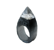 Black spiked stud hand carved resin ring gift