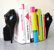 The repurposed black high heel stiletto bookend gift