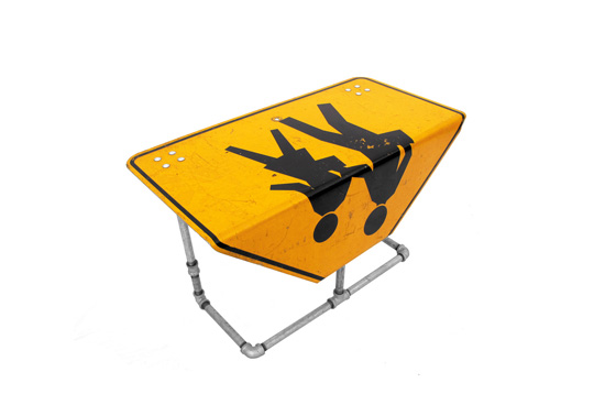 The pedestrian street sign side table gift by Tim Delger